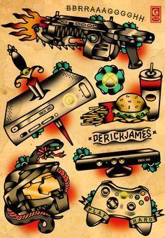 Ilustrações Old School de Derick James se misturam com jogos, filmes e…