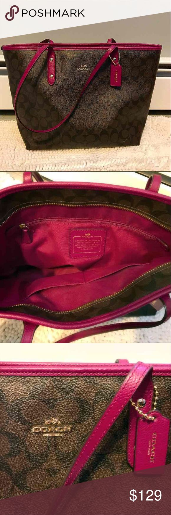 Authentic Coach tote bag Beautiful authentic Coach tote bag in brown with fuchsia trim. I've used this bag maybe 3 times but I needed something bigger for work. It's lightweight and perfect for the summer! Listing price is negotiable. Thanks for looking!  Purchased for $299 Coach Bags Shoulder Bags