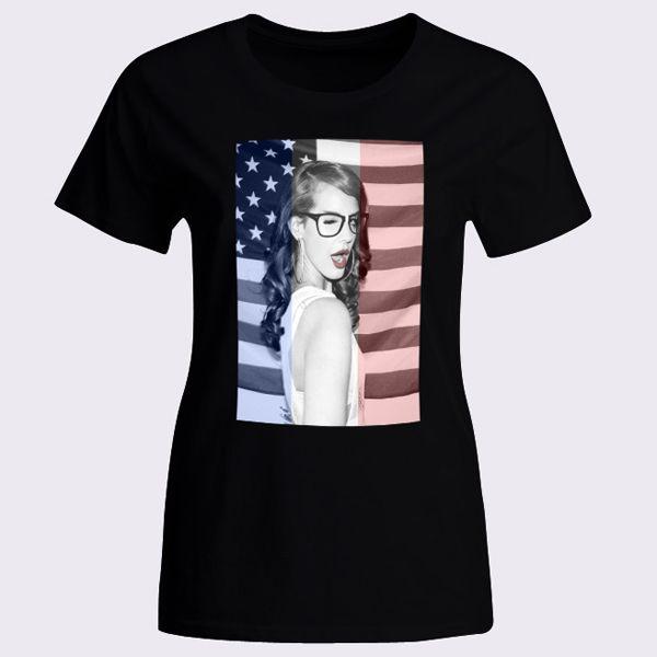Lana Del Rey Nerdy Glasses Geeky Red Lips Womens T-Shirt - T-Shirts & Tank Tops