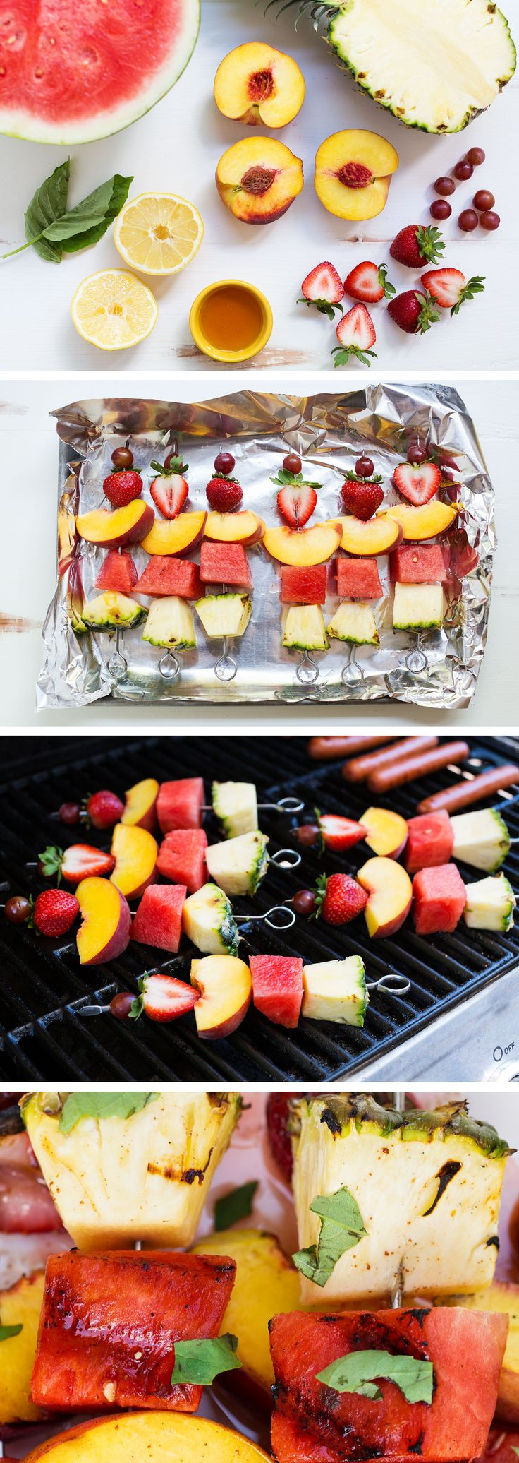 Grilled Fruit Kabobs with a Cinnamon Honey Glaze are so easy to put together, and the perfect addition to dinner tonight with a #HebrewNational hot dog! #ad