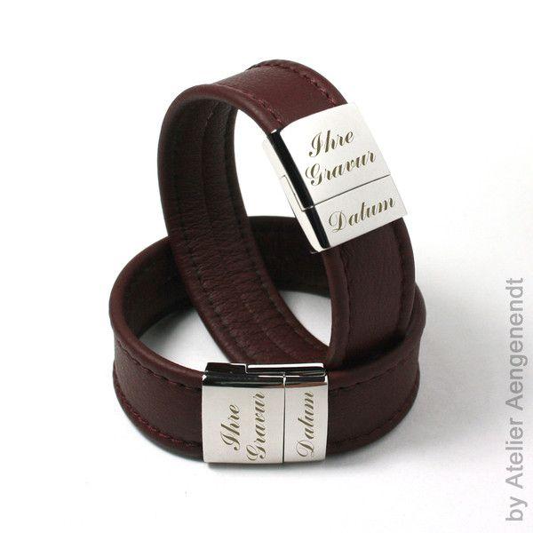 Armbänder - LA-N (RB) Partner Armband Lederarmband mit Gravur - ein Designerstück von Fotoschmuck24 bei DaWanda