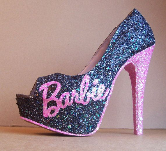 Black and Pink Barbie Glittered High Heels by TattooedMary on Etsy, $110.00