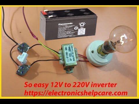 make inverter 12v to 220v 200w, simple circuit diagram, ( use 12 0 12  transformer ) - youtube