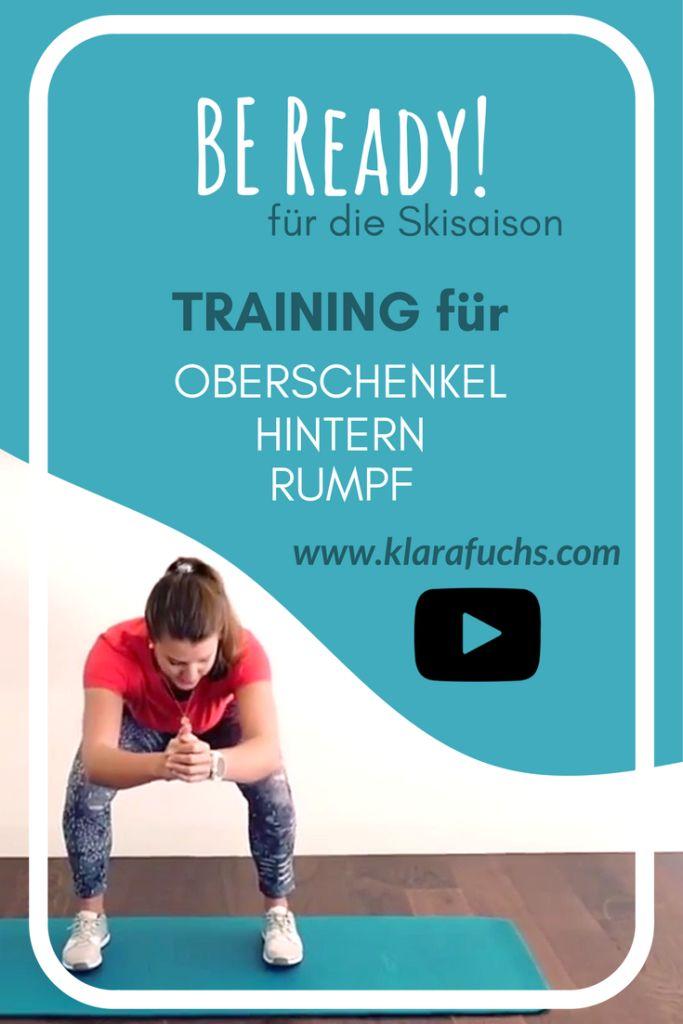 VIDEO: Training für Beine und Po - Vorbereitung auf die Ski Saison -Muskeln und Kondition stärken. Homeworkout Fitness. KlaraFuchs.com