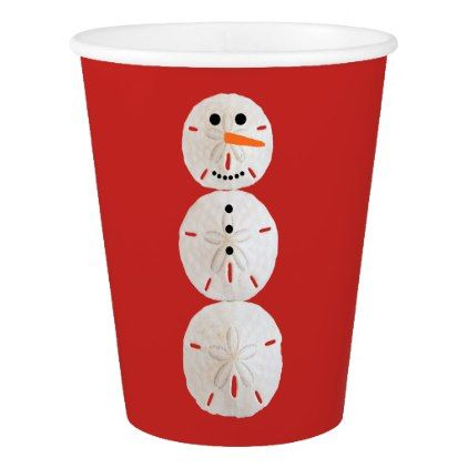 Sand Dollar Snowman Paper Cup - home gifts ideas decor special unique custom individual customized individualized