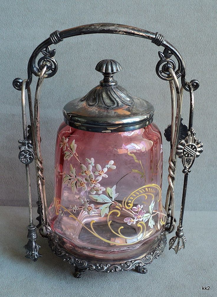 Victorian: #Victorian Enamel Flowers Pickle Jar, Lid, 2 Tongs, Meriden Silverplate Castor Set.