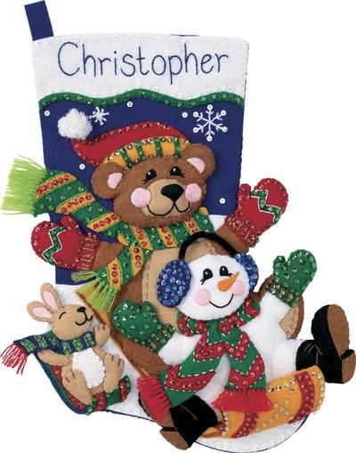 Toboggan Trio Stocking Felt Applique Kit-18 Long   In Stock  SKU: 324460 / MFG #: 8145   List Price:$19.99You Save:$3.00 (15%)Sale