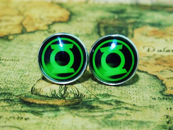 Men Cuff LInks , The Avengers Movie Movie Green Lantern Design Cufflinks , Unique Silver Cuff Link , with a Gift Box on Etsy, $8.00