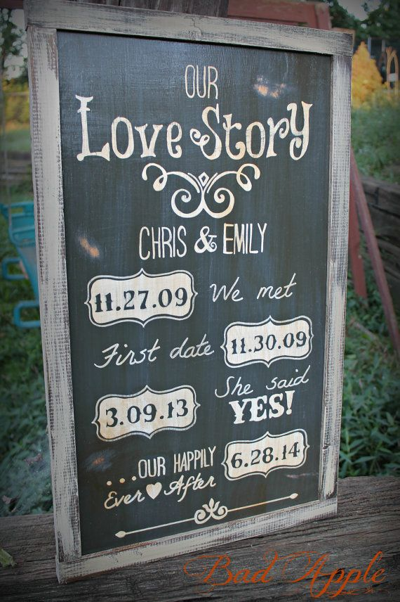 Our Love Story sign Great for a wedding gift or by badapplestyle, $39.00