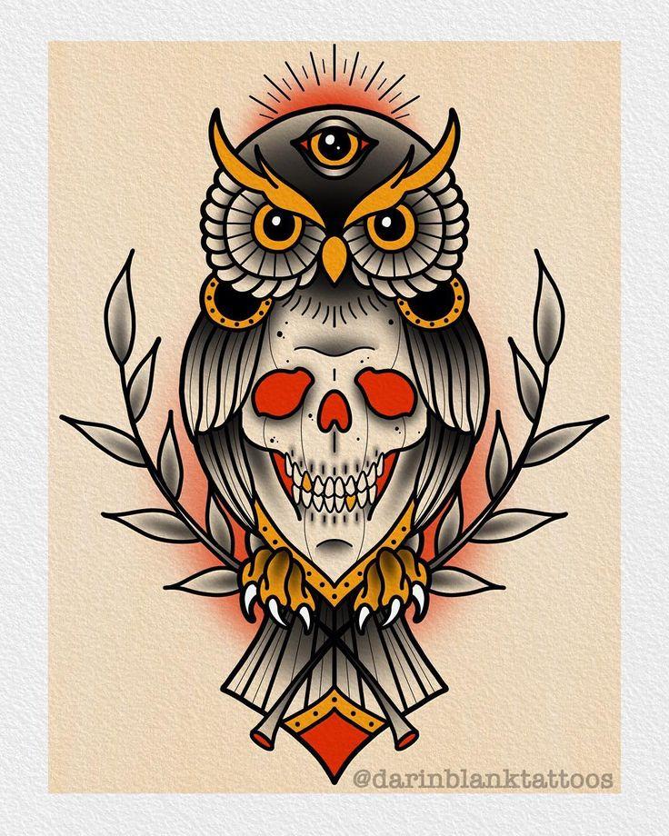 Skull Owl Design Up For Grabs! Darinblanktattoos@gmail.com