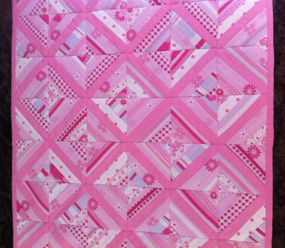 Baby girl quilt for bassinet pram or cradle by ThreadfullyPretty