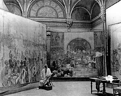 Alfons Mucha at work on the Slav Epic c1920