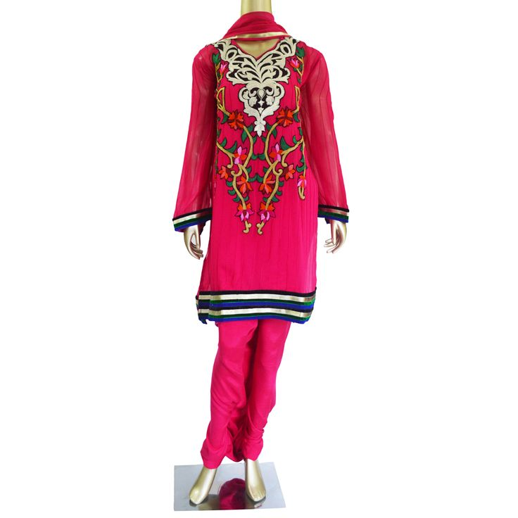 Pink Passion: Georgette Salwar Suit with multi coloured embroidery!  Ready to ship! SHOP @ https://www.studiokairi.com/product.php?product=kairi264