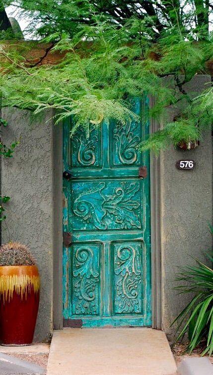Turquoise door, Tucson, Arizona