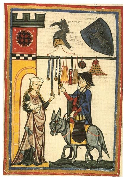 Purses from the Manesse Codex - notice that the yellow one seems to have a drawstring and a handle/hanger