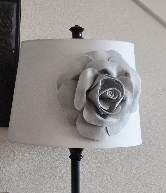 Gray rose lampshade flower accessory lamp shade magnetic for Room decor embellishment art 3d