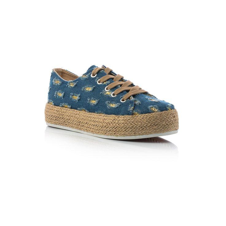 £: Sneaker in tessuto blu jeans