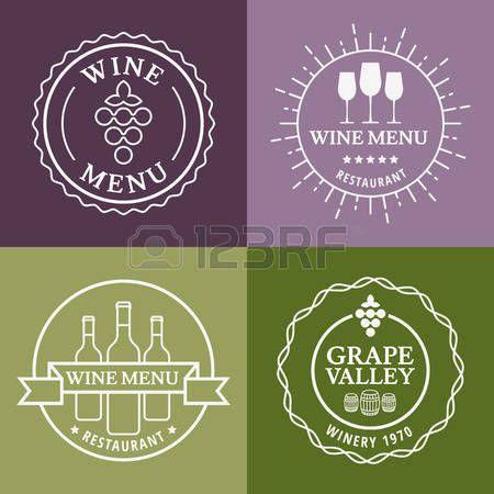 Set di vino segni, scudetti ed etichette. Vector illustrazione linea. Concetto per menu del bar, partito, bevande alcoliche, vacanze celebrazione, cantina, ristorante. photo