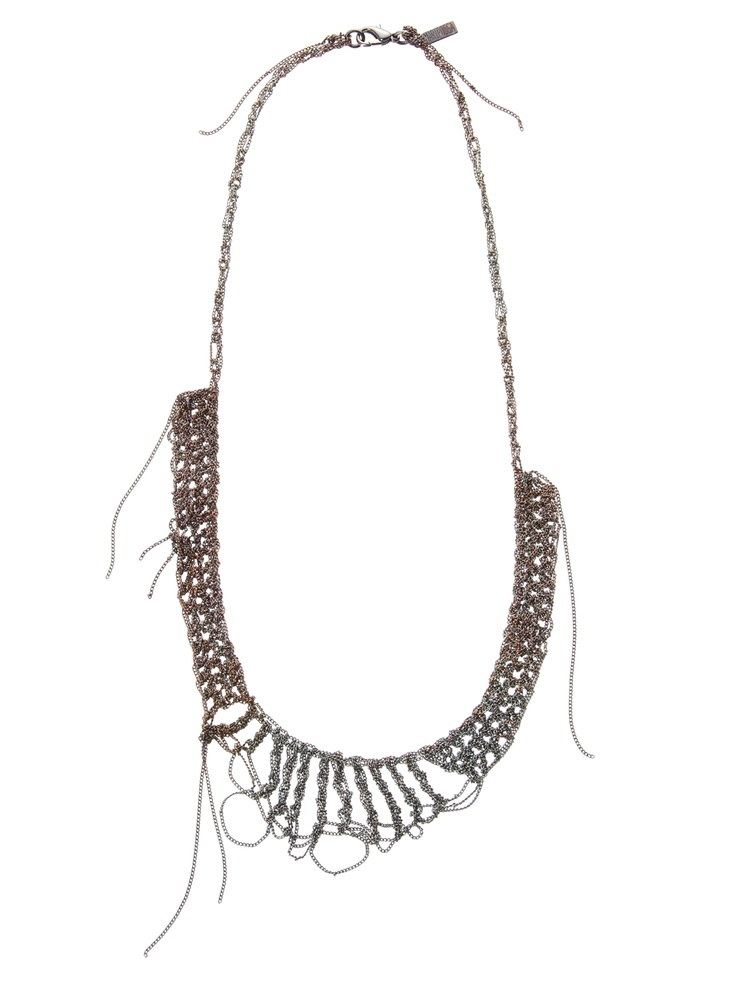 Bodhi necklace gunmetal by Maripossa created using fine woven chains