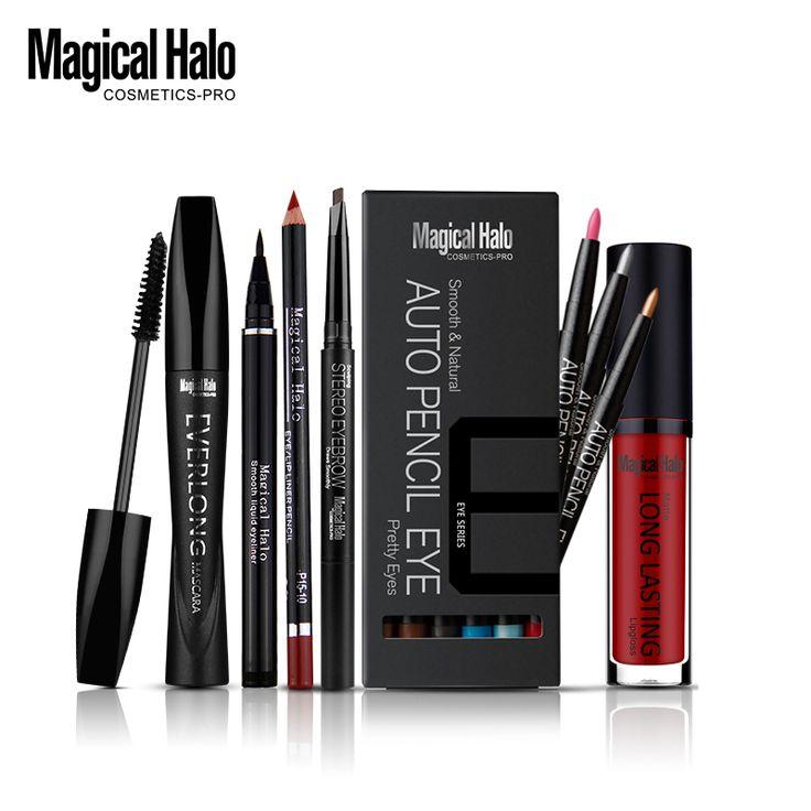 Magical halo pro vloeibare eyeliner + mascara lipliner + wenkbrauw Enhancer + 12 Kleuren Oogschaduw + Lipgloss Cosmetica Make Set