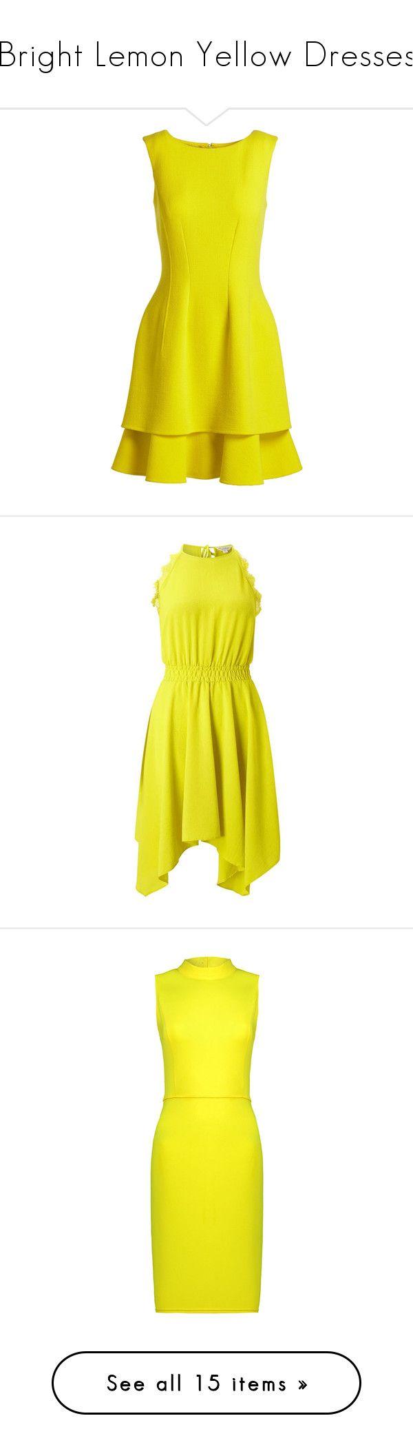 """Bright Lemon Yellow Dresses"" by tegan-b-riley on Polyvore featuring dresses, dresses 3, vestidos, layered dress, oscar de la renta dresses, zip dress, sleeveless a line dress, round neck sleeveless dress, chartreuse and yellow fit and flare dress"