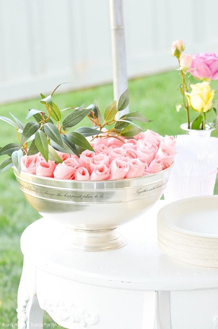 DIY Rose Napkins! Floral chic baby blessing luncheon by Kara Allen   Kara's Party Ideas LDS Blessing Ideas with FREE printables