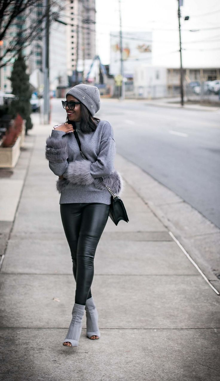 This post highlights leather leggings. It shows how to wear this classic piece, and 5 great faux leather options that look like the real thing.