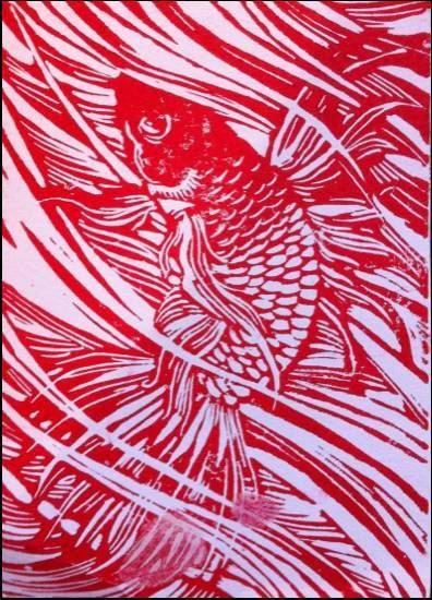 Hand Carved Linoleum Block Print - Beta Fish