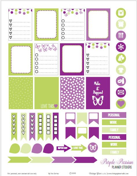 Free planner stickers printable in vibrant purple and olive green suitable for vertical weekly planners as well as other agendas or journals. Free for personal use only.
