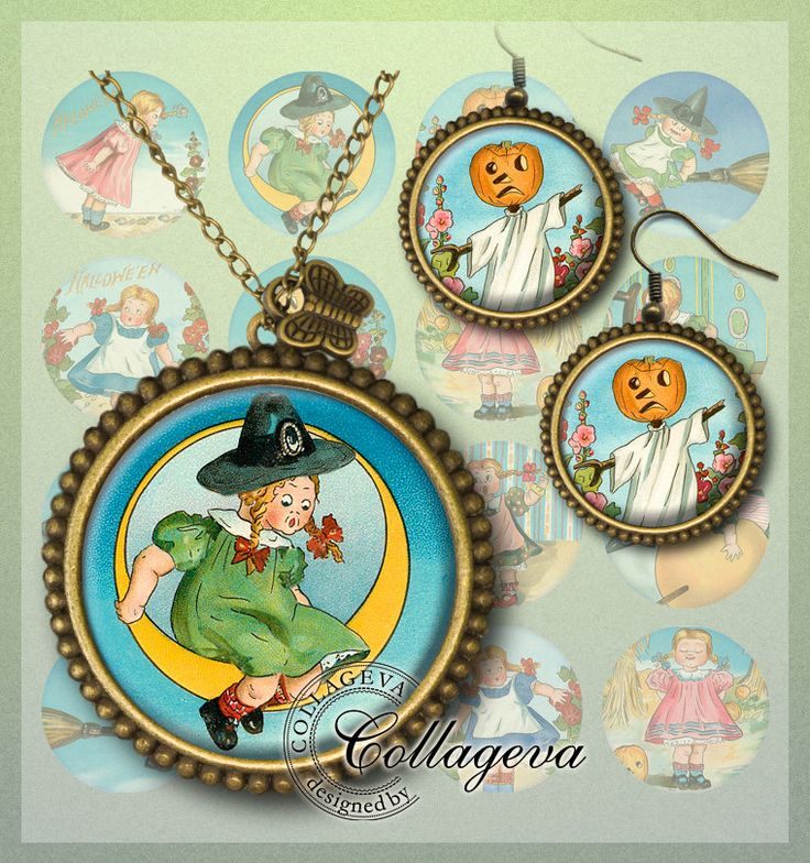 Halloween Girl Digital Collage Sheet 20 18 16 14 12 mm circles Witch Pumpkin Moon Scarecrow Autumn Clipart images for earrings rings (EC06-c by collageva on Etsy