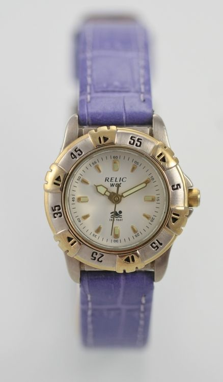 Relic Watch Womens Purple Leather Stainless Steel Silver Gold 50m White Quartz