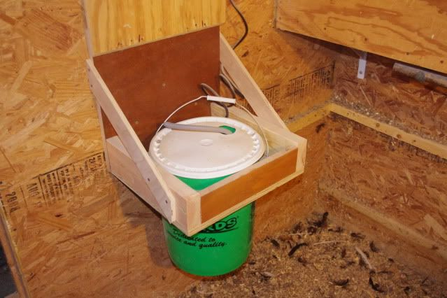 Poultry Nipple Waterer Heater set-up.   DIY Poultry Nipple waterers here: http://www.the-chicken-chick.com/2012/06/chicken-nipple-waterer-diy-instructions.html