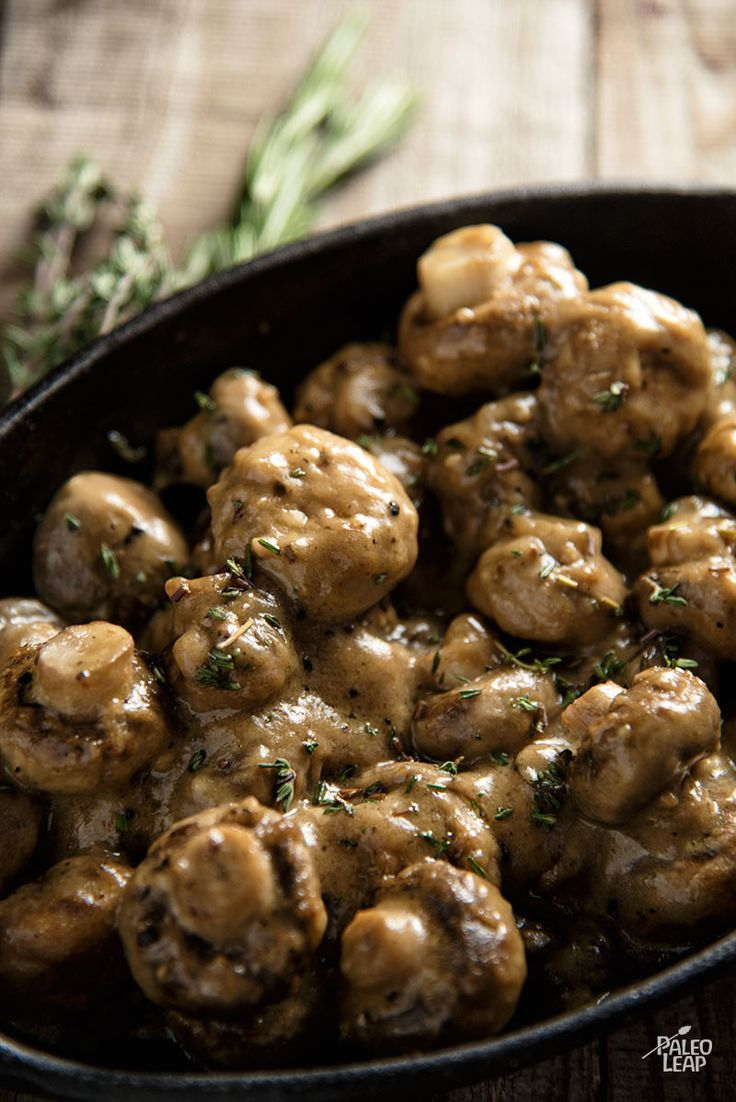 Creamy Garlic Mushrooms - Rich roasted mushrooms in a dairy-free cream sauce, flavored with plenty of garlic and herbs. #Holidays (Paleo, Gluten Free, Whole30, AIP)