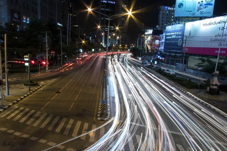 # creative motion blur# Traffic Trails on Thanon Ratchadaphisek, Bangkok by Manish Gajria on 500px