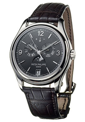 Patek Phillippe Annual Calendar Men's Automatic 18K White Gold Grey Dial on Brown Leather Strap. List price: $44400.