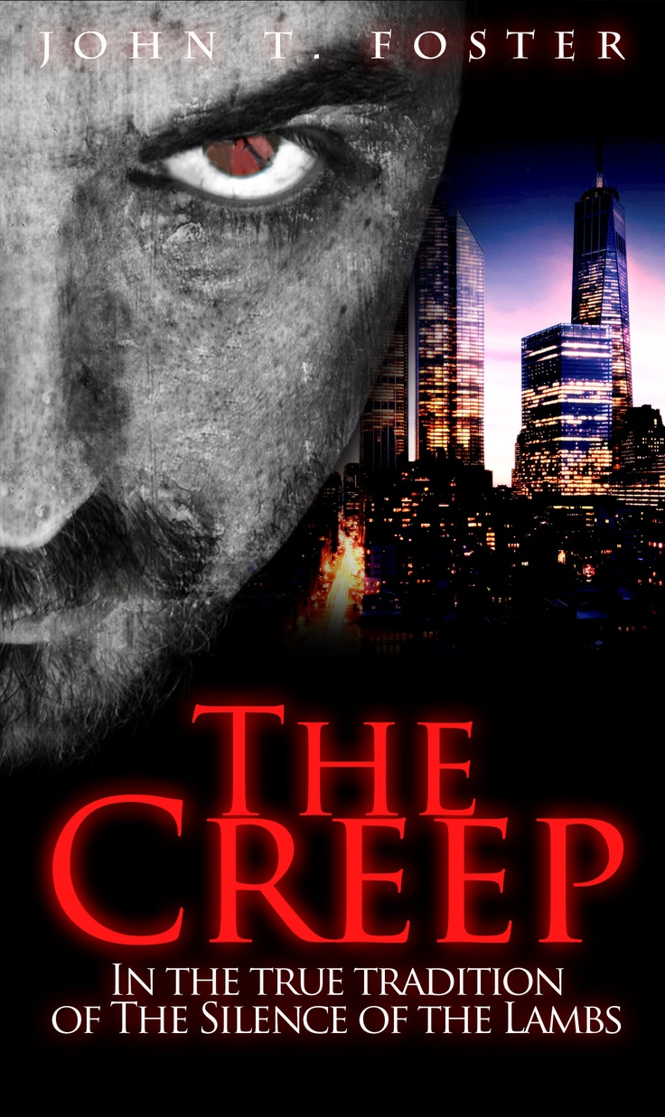http://www.diaryofserialkillers.com/  The creep book cover - NEW YORK SKYLINE with killer face and half of the face watching you creepy. Red sign with white underline. Available on Kindle for purchase.