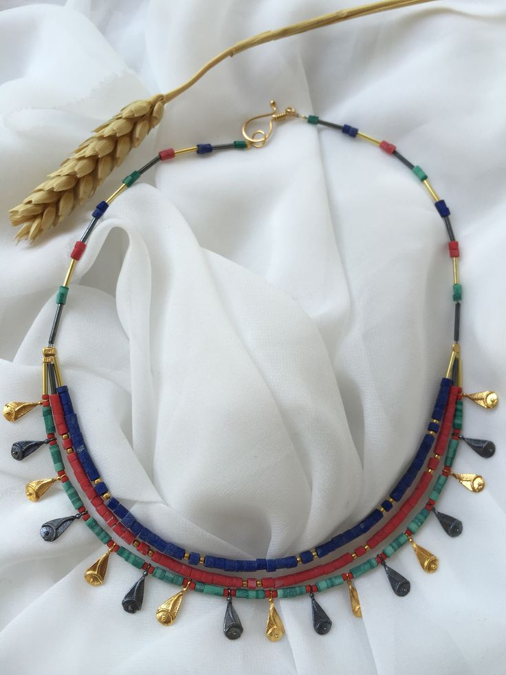 Türkmen Necklace silver/gold plated with lapis lazuli, coral and turquoise stones