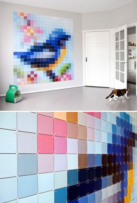 pretty paint chip art #diy #crafts. This is pretty awesome.The smaller you cut the squares the better the picture should look.You can also do this with fabric and almost any cross stitch patt.and sew into a quilt.