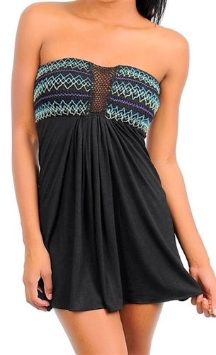 trendy dress has a stretchy smocked bust with contrast pastel stitching and open crochet center, micro mini dresses in black, party dresses to wear casual or club dress, day dress for festival party, bohemian strapless micro mini dress in black, cover-up