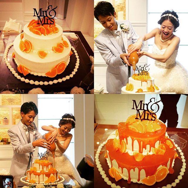 ♡weddingreport♡15 . . #ウェディングケーキ . . 夏らしくオレンジたっぷりにしてもらいました . . 私たちはケーキ入刀ではなくケーキ完成セレモニーとして、キャラメルソースをかけました . . 式場でやったことないって言われたので、どうなるか予想つかなかったですがキャラメルソースが流れにくくてちょっと時間かかったなぁと思ったけど、完成形は理想的でお気に入り✨✨✨ . . そして美味しかったです❤️ . . #卒花嫁 #weddingtb #カラードリップケーキ #キャラメルソース #オレンジ #ケーキトッパー #ケーキ入刀 #ケーキ完成セレモニー #ウェディングニュース #marry花嫁 #marry本 #marry本こだわり演出 #2016夏婚 #ちーむ0820 #ym_weddingreport