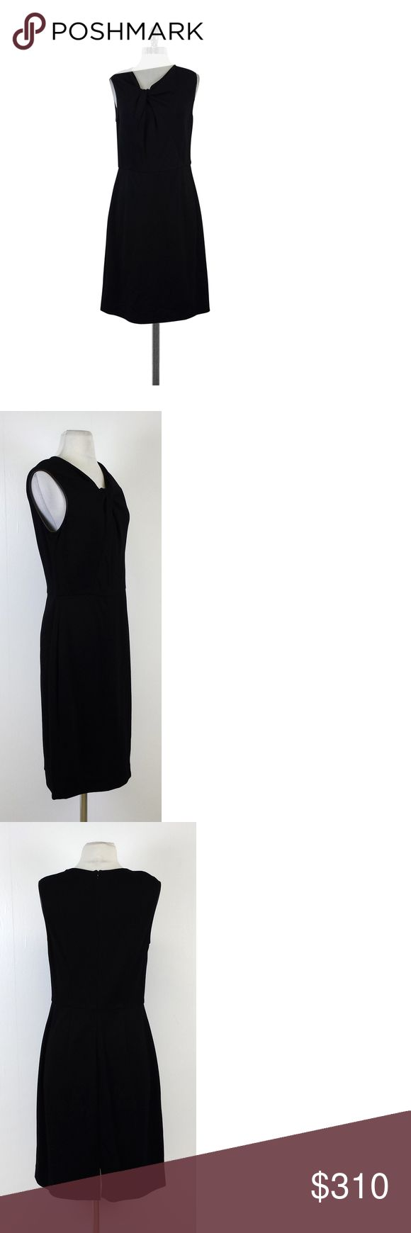 """Jason Wu- Black Leather Trimmed Sleeveless Dress Sz 12 This elegant red dress is trimmed with leather, has a knotted neckline, and a tailored fit. Wear this stylish dress for work or for play. Size 12 Body 68% rayon 28% nylon 4% polyurethane Lining 93% silk 7% elastane Trim 1 100% rayon Trim 2 Leather Made in USA Concealed back zip w/clasp Sleeveless Leather trim on arm Knotted neckline Fitted waist Slit on back Shoulder to hem 40"""" Waist 32"""" Jason Wu is a Taiwanese Canadian fashion designer…"""