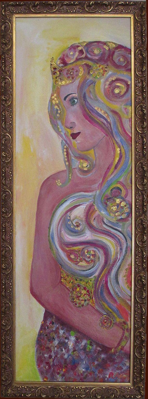 Merna The Sea Goddess Framed Original Acrylic Painting by Artowley