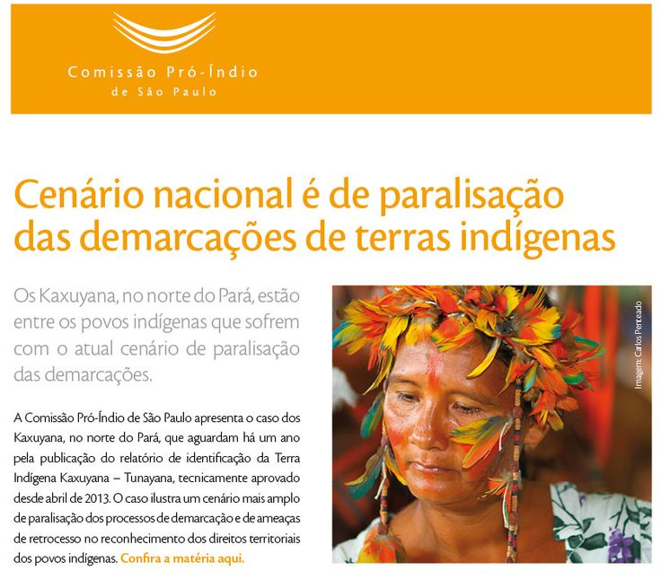 Cenário nacional é de paralisação  das demarcações de terras indígenas. Saiba mais na matéria produzida pela Comissão Pró-Índio: bit.ly/1hL5Uis