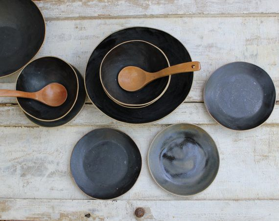 wood & ceramics. by laurie goldstein.: Black Salad, Plates, Etsy, Ceramics Laurie Goldstein, Kitchen, Goldstein Ceramics, Soup, Salad Bowls, Black Bowls