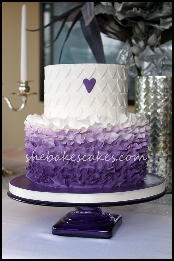 Two-Tier Purple Ombre Ruffle Cake with Hearts - SheBakesCakes.com by Sophia964