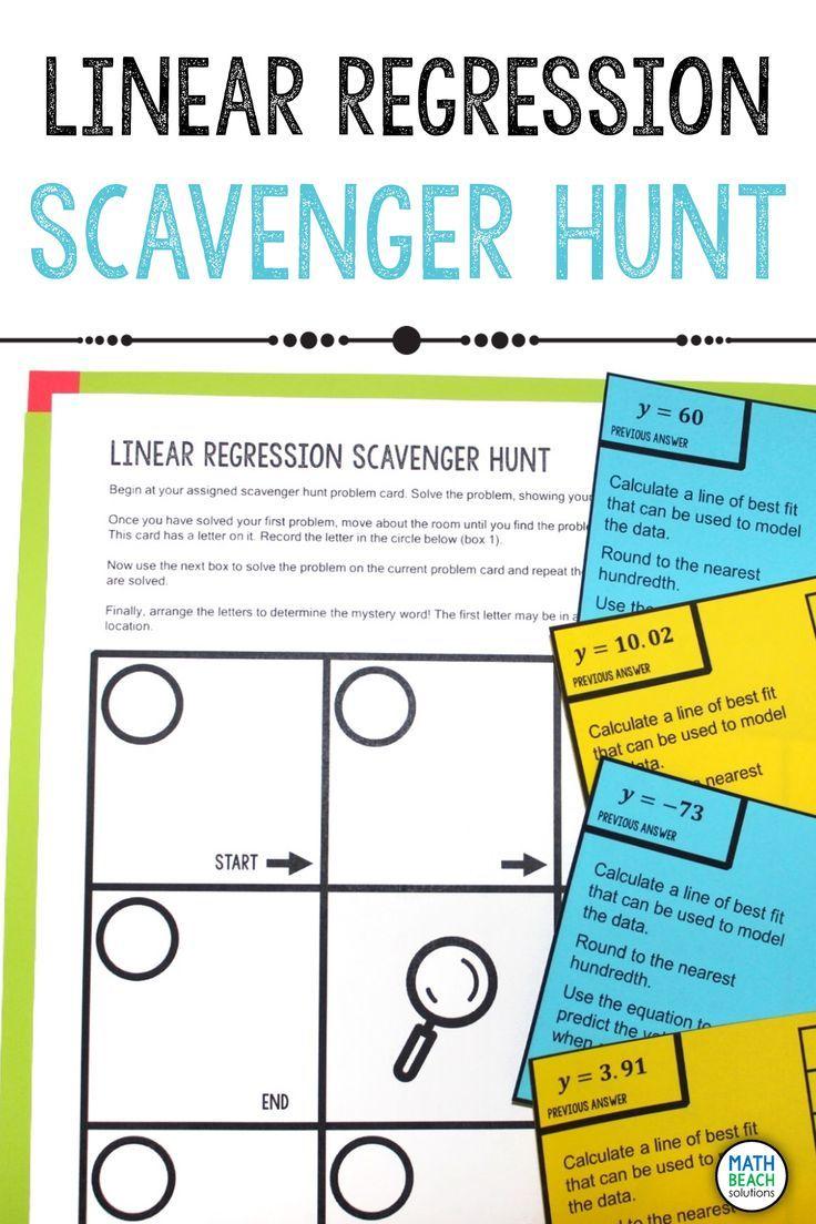 Linear Regression Scavenger Hunt Activity Linear Regression Regression Algebra Worksheets