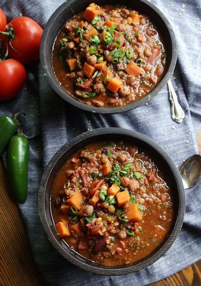Change up your chili game with this unique combo of quinoa, lentils, and beans. The addition of sweet potatoes and cocoa give a nod to traditional American foods and that kick of cinnamon takes your bowl to a whole new level. This is definitely going to be added to my Sunday fall football menu! Recipe...