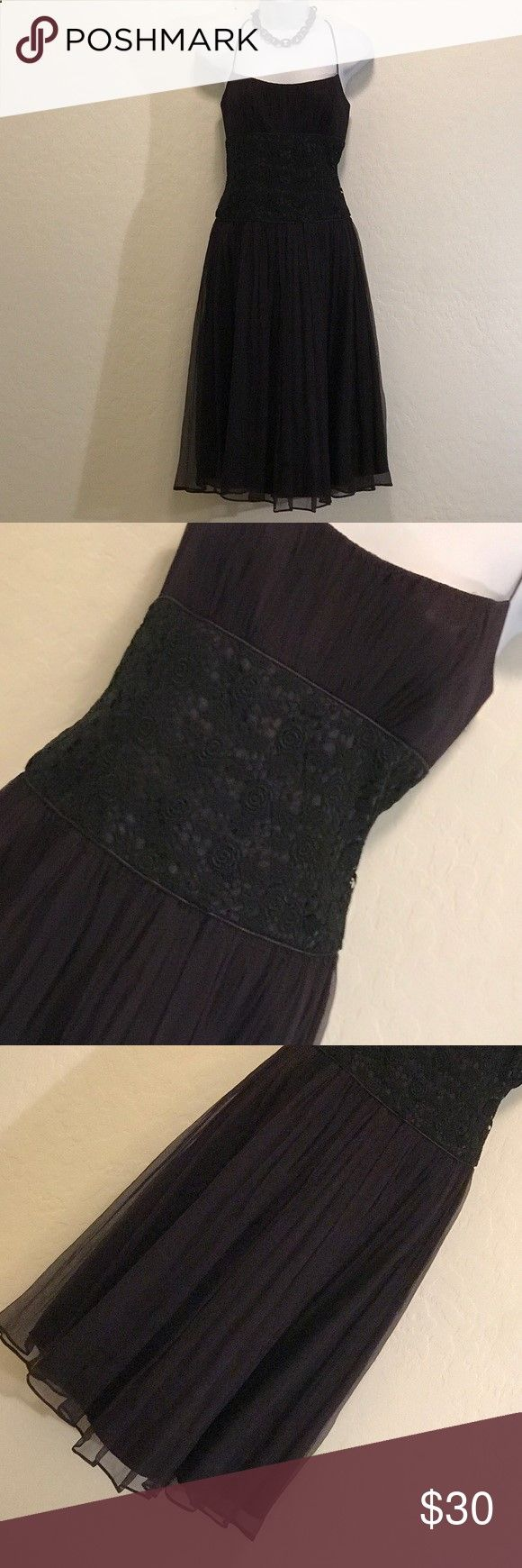 👗 Black Cocktail Dress👗 Never Worn, Back Zipper, Lined, Spaghetti Straps, Rosebud Waist Embroidery, Faux Pleats, Flare. Laundry by Shelli Segal Dresses