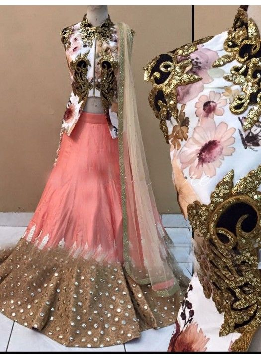 Purchase Beautiful Pastel Peach Floral Printed Net Lehenga by MischB Couture #peach #floral