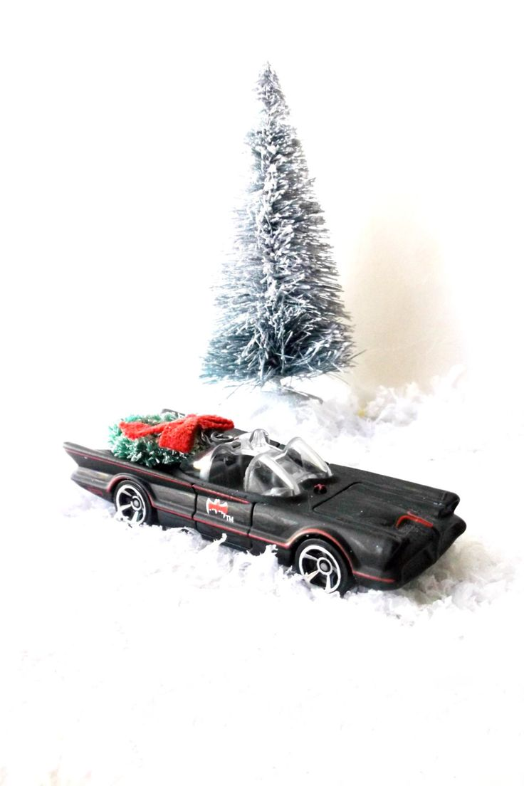 Christmas in Gotham City. BatMobile Toy Car w Vintage Bottle Brush Wreath. Comic Book Batman Fans Collectible by 3vintagehearts on Etsy